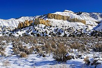 Fresh snow on the sandstones and junipers, Grand Staircase Escalante National Monument, Utah, USA.