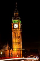 Big Ben Tower Westminster Bridge Night Houses of Parliament Westminster London England. Named after the Bell in the Tower. Has kept exact time since 1...
