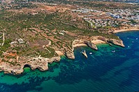 Lagoa coast. From left to right , Fontainha beach and Nova beach. Lagoa municipality. Faro district. Algarve. Portugal