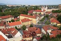Hungary, Esztergom, skyline, general view,.