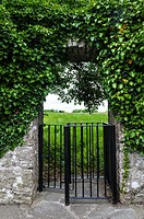 A kissing gate into a field at Neale, a small village in the south of County Mayo, Ireland.