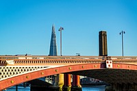 Blackfriars Bridge, Shard skyscraper and Tate Britain tower, London, England, UK.