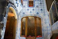 Antoni Gaudi Casa Batllo, UNESCO World Heritage Site, Barcelona, Catalonia, Spain. Sant Jordi (Saint George) is the Patron Saint of Catalonia all is f...