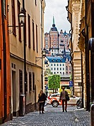A narrow street in the Galma Stan (old town) section of Stockholm, Sweden.