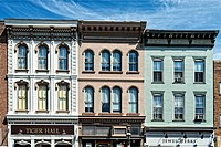 Bethlehem, PA, USA. Close Up of Old Tenement/Retail apartment building in the Historic District.