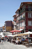 Restaurants along River Douro Promenade in Porto, Portugal.