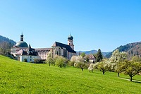 Benedictine Monastery of Saint Trudpert (Kloster Sankt Trudpert) in early Spring. Münstertal, Breisgau-Hochschwarzwald, Baden-Württemberg, Germany.
