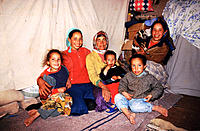 Berber family in the desert near Ouarzazate. South Morocco