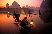 Cormorant fishermen. Li River. Chuang Autonomous Region of Kwangsi (Guangxi). China