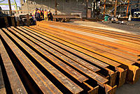 Large steel beams at industrial construction site