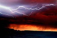 Lightning over Grand Canyon USA