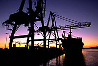 Cranes and containership. Port of Oakland. California. USA