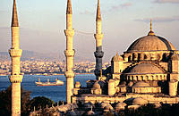 Blue Mosque and the Bosphorus. Istanbul. Turkey