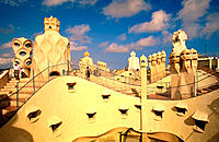 Roof of Casa Mila (aka La Pedrera, 1906-1912), by Gaudi. Barcelona. Spain