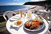 Fish dish at restaurant. Fuerteventura. Canary Islands. Spain