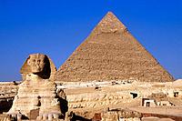 Sphinx and Pyramid. Giza. Egypt