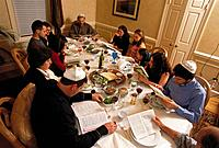 The traditional Passover meal called the ´seder´ which is usually celebrated around easter in the spring. Photo taken in Bethesda, Maryland
