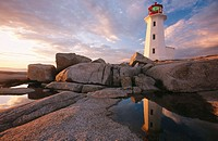 Lighthouse at sunset. Peggy´s Cove. Nova Scotia. Canada