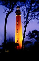 Ponce de Leon lighthouse illuminated at dusk. Ponce Inlet, Florida. USA