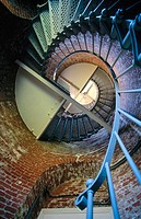 Lighthouse spiral staircase detail from below. Cape Blanco, Oregon. USA