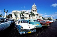 Capitol Building and old cars. Havana. Cuba