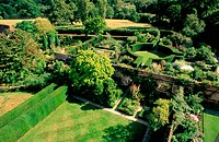 View from above of The White Garden at Sissinghurst Castle. Tunbridge Wells. Kent. UK
