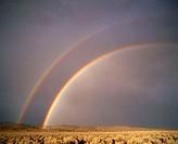Double rainbow over Eastern Oregon. Oregon. USA