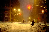 Snow storm, street scene. New York City. USA