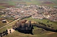 Aerial view of Belmonte and Castle. Cuenca province. Castilla La Mancha. Spain