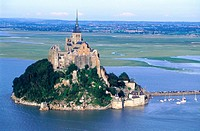 aerial at high tide. Mont St Michel. Normandy. France