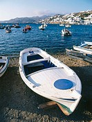 Boats at fishing harbor. Mykonos city. Mykonos. Greece