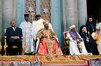 The re-burial of emperor Haile Selassie, 25 years after his death: Prince Jacob and Patriarch Abune Paulos at Baata Maria Church. Addis Abeba, Etiopia...
