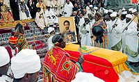 The re-burial of emperor Haile Selassie, 25 years after his death: priests of the Ethiopian Orthodox Church outside Baata Maria Church. Addis Abeba, E...