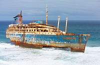 Wreck of American Star in Garcey´s beach (Wrecked in January 1994). Fuerteventura. Canary Islands. Spain