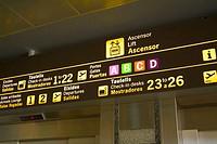 Information panel, Valencia Airport, Valencia, Comunidad Valenciana, Spain