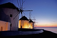 Windmills at sunset. Mykonos. Cyclades Islands, Greece