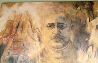 Mural painting of Salvador Alvarado by Fernando Castro Pacheco. Palacio de Gobierno. Mérida. Yucatán. Mexico.