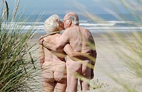 Senior couple doing nudism