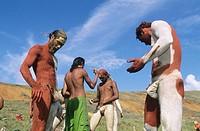 Tau´a Rapa Nui triathlon, body painting. Tapati Rapa Nui festival. Islander. Easter Island. Chile.