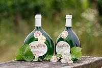 Bocksbeutel. Boxbeutel. Typical wine bottles. Franconia. Bavaria. Germany