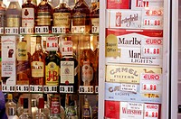 Display of tobacco and alcohol products in a duty-free store. Gibraltar. United Kingdom