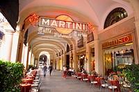 Italy. Piedmont. Turin (Torino). Via Roma. Piazza San Carlo. Martini sign outside Caffe Torino