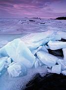 Break-up of ice at the shoreline of Gulf of Bothnia. Kagnasudden, Västerbotten, Sweden