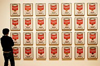 Visitor looking at Campbell´s Soup cans by Andy Warhol, Museum of Modern Art. New York City. USA
