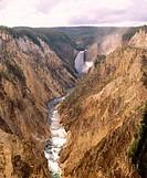 Lower Falls, Yellowstone river. Grand Canyon of the Yellowstone. Yellowstone National Park. Park County. Wyoming. USA.