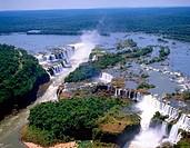 Aerial view of Iguazu Falls. Argentina-Brazil border
