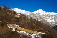 View of mount Puigmal (2910 m.) from Queralbs, Ripollès. Girona province, Catalonia, Spain