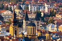 Bosnia-Hercegovina, Sarajevo, view of city center with catholic and Orthodox cathedrals