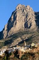 Finestrat village with Puig Campana peak in background. Alicante province, Comunidad Valenciana, Spain