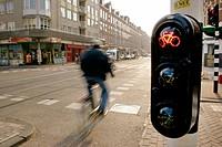 Traffic light for biker. Amsterdam. Holland.